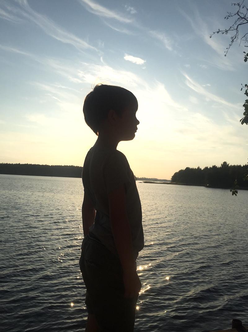 Owen in front of sauna