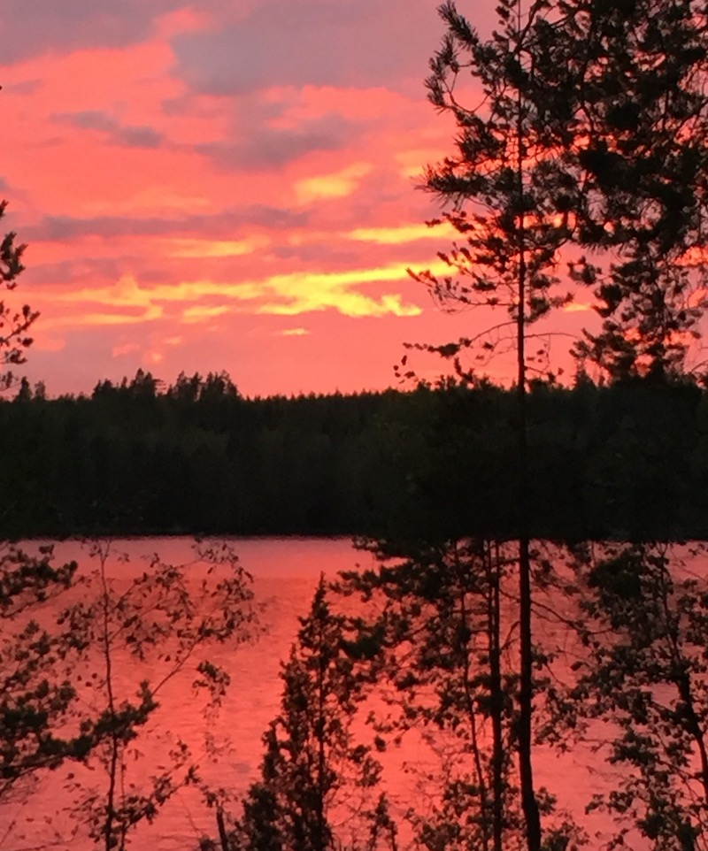 Nightfall in Finland with colour